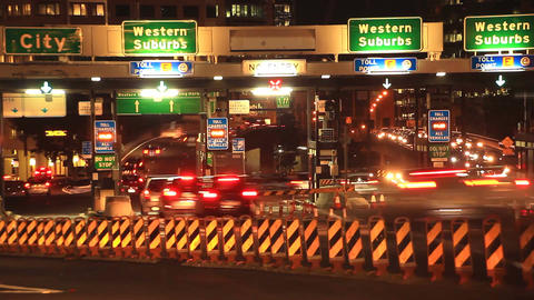 Commuter Traffic Congestion City Street Night Traffic Rush Hour Time Lapse Live Action
