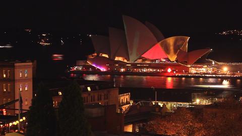 Opera House Sydney Harbour Australia establishing shot - Vivid Light Festival Footage