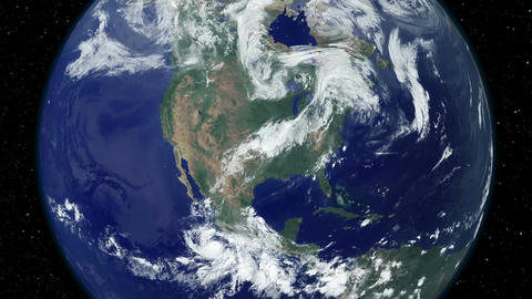 USA United States of America Day to Night Slow Zoom earth from space Footage