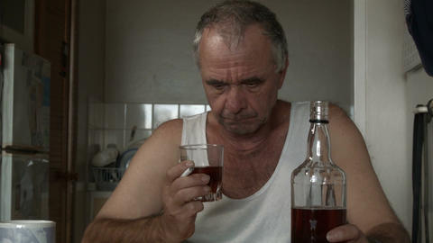Alcoholic Man Suffering Drug Effects Of Alcoholism And Depression stock footage