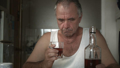 Alcoholic Man Suffering Drug Effects of Alcoholism and Depression Footage