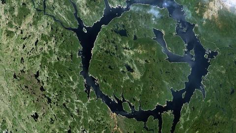 Asteroid Impact Crater - Lake Manicouagan Footage