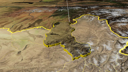 Takhar - Afghanistan province extruded. Satellite Animation