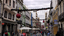 Spain Gran Canary Las Palmas city 013 christmas decoration in city center Footage