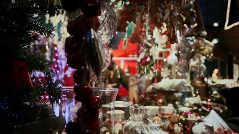 Christmas items and decorations in the christmas shop Footage