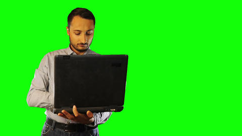 man working on the old computer Green Screen Footage