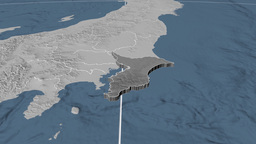 Chiba - Japan prefecture extruded. Bumps Animation