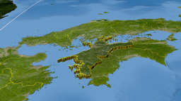 Ehime - Japan prefecture extruded. Satellite Animation