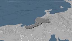 Fukui - Japan prefecture extruded. Bumps Animation
