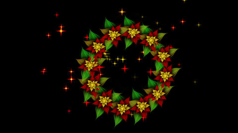 Starry Christmas wreath, green, red and golden with twinkling stars Animation