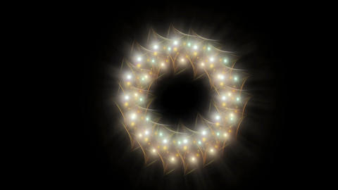 Radiant Christmas wreath, white, green and golden Animation