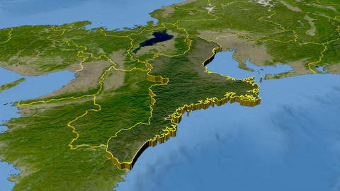 Mie - Japan prefecture extruded. Satellite Animation