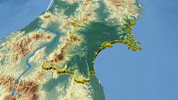 Miyagi - Japan prefecture extruded. Bumps shaded Animation