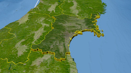 Miyagi - Japan prefecture extruded. Satellite Animation