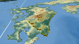 Miyazaki - Japan prefecture extruded. Bumps shaded Animation