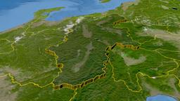 Nagano - Japan prefecture extruded. Satellite Animation