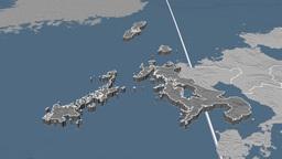 Naoasaki - Japan prefecture extruded. Bumps Animation