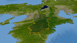 Nara - Japan prefecture extruded. Satellite Animation