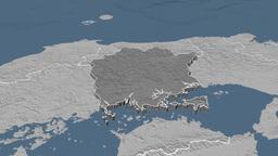 Okayama - Japan prefecture extruded. Bumps Animation