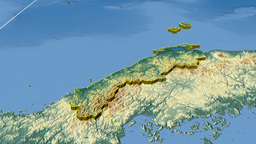 Shimane - Japan prefecture extruded. Bumps shaded Animation