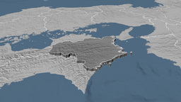 Tokushima - Japan prefecture extruded. Bumps Animation